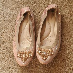 White Mountain ballerina rose gold jewel flats